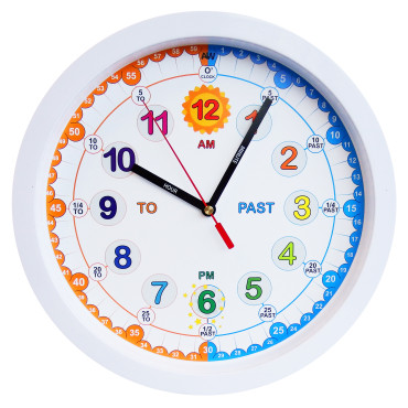 Aniclock Time Teacher Children Wall Clock, Easy to Read clock with Silent movement. Teach children how to read an analogue clock with this perfect gift, 30cm Diameter